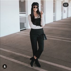 ac174355191 ... Black Cropped Overalls Striped linen pants ...